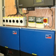 Inverters convert panels DC to mains AC