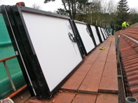 Panels on scaffolding platform